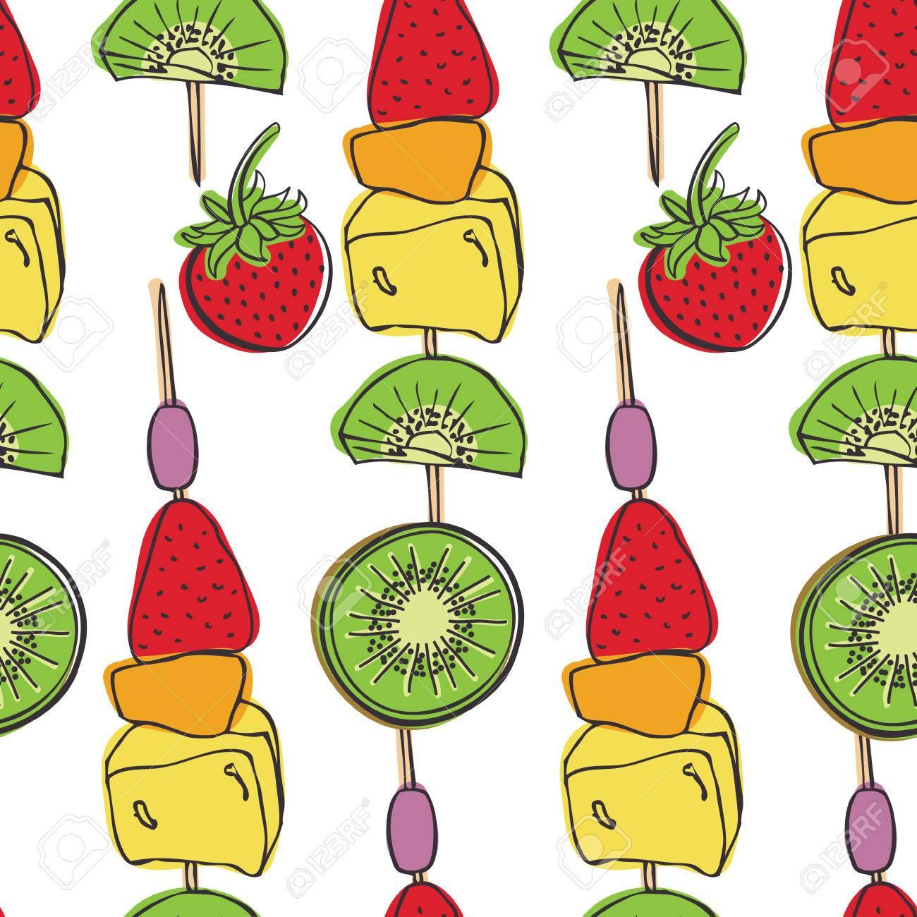 Fruit skewers Pieces of fresh fruit.