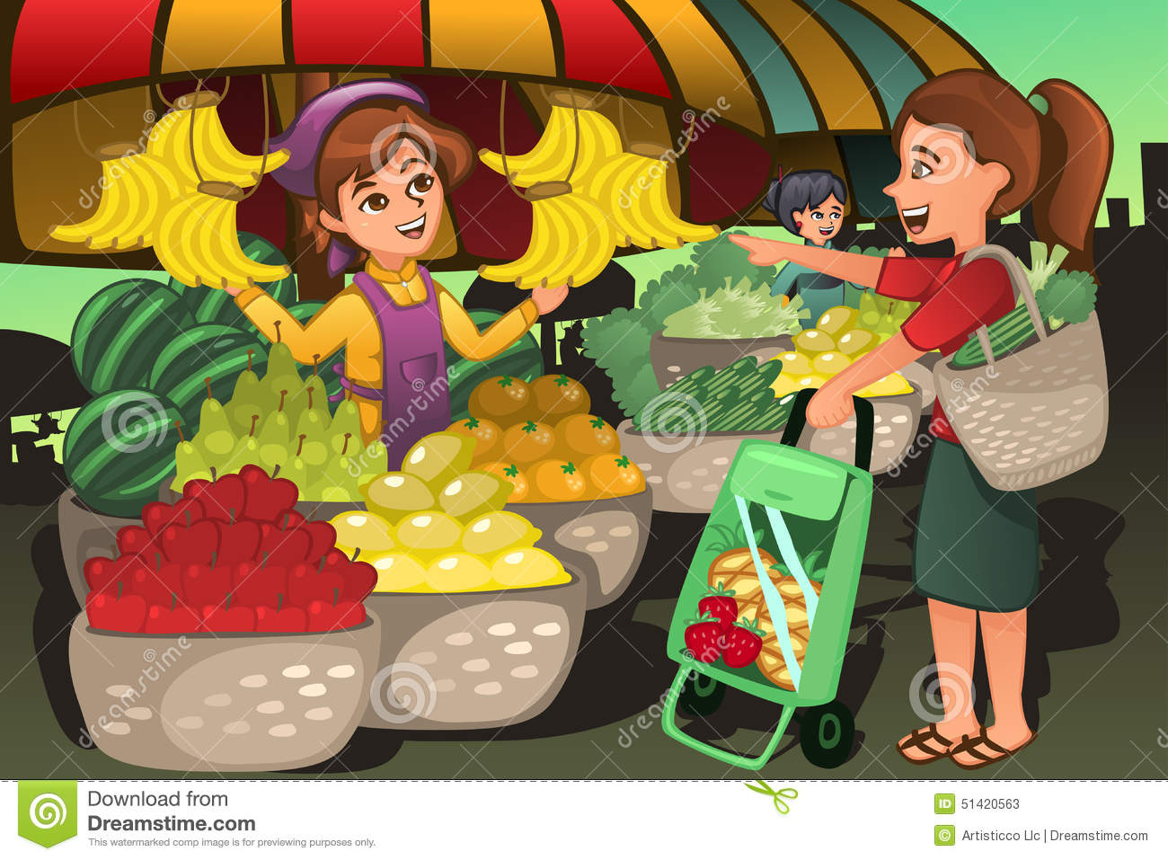 Fruit Seller At The Farmers Market With A Customer Stock Vector.