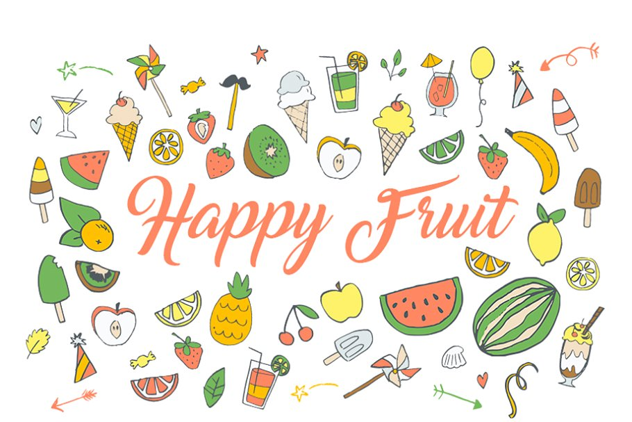 Happy Fruit Ninja Clip art HandDrawn ~ Illustrations.