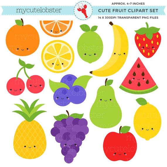Cute Fruit Clipart Set.