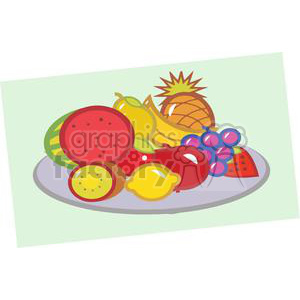 Plate Of Fruits clipart. Royalty.