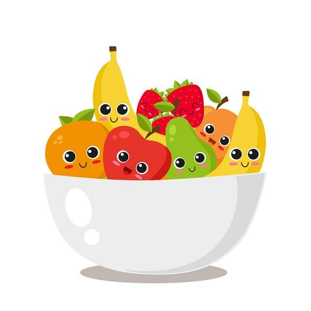 Fruit Platter With Cute Fruits, Food, Cartoon, Healthy PNG.