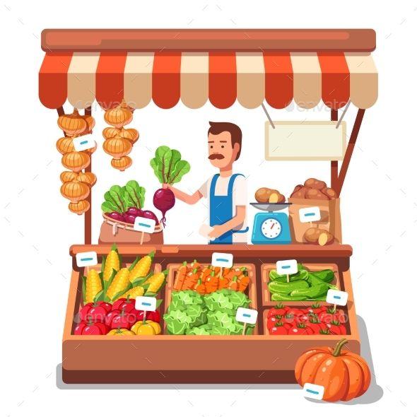 Local Market Farmer Selling Vegetables in 2019.