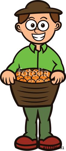 Fruit Seller Carrying Full Basket of Fruit Cartoon.
