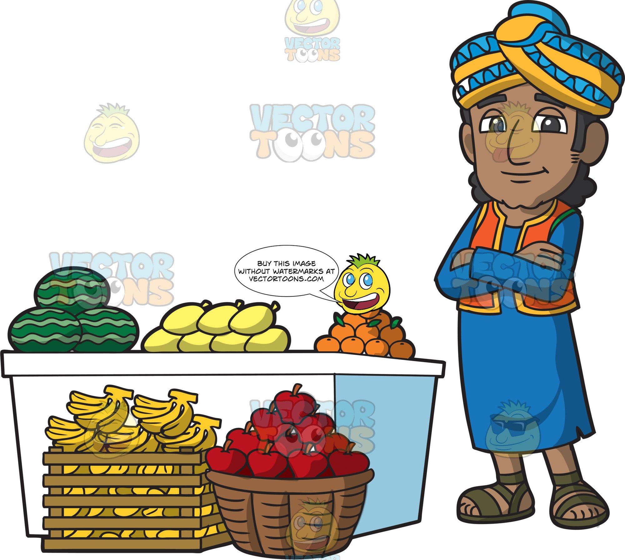 An Indian Merchant Selling Fresh Fruits.