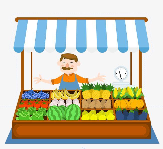 Vector Sells Fruit And Vegetables Cartoon Uncle, Vegetable.