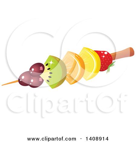 Clipart of a Fruit Kebab with Grapes, Kiwi, Orange, Lemon and.