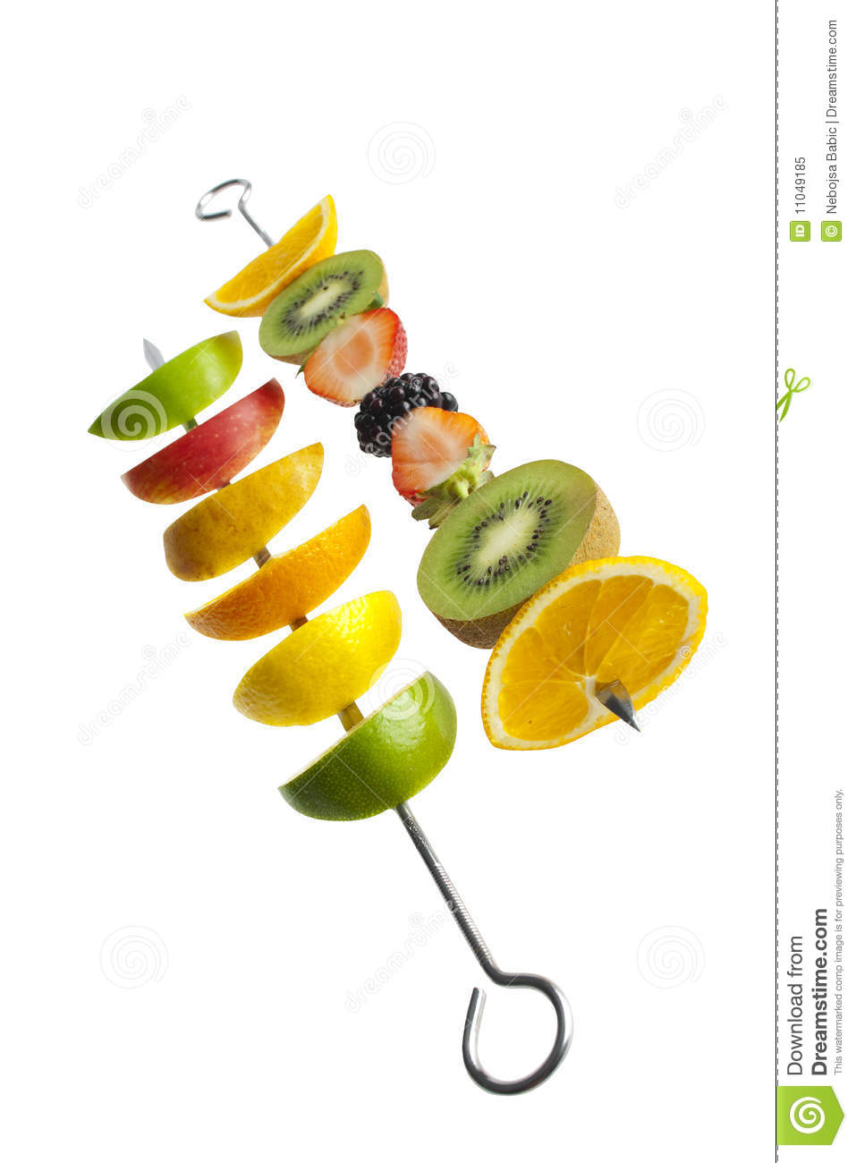 Fresh Fruit On A Skewer Royalty Free Stock Photo.