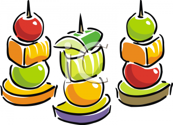 Fruit kebabs clipart.