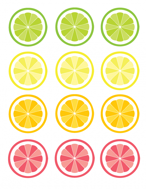 Fruit Slices Straw Toppers Free Printables.