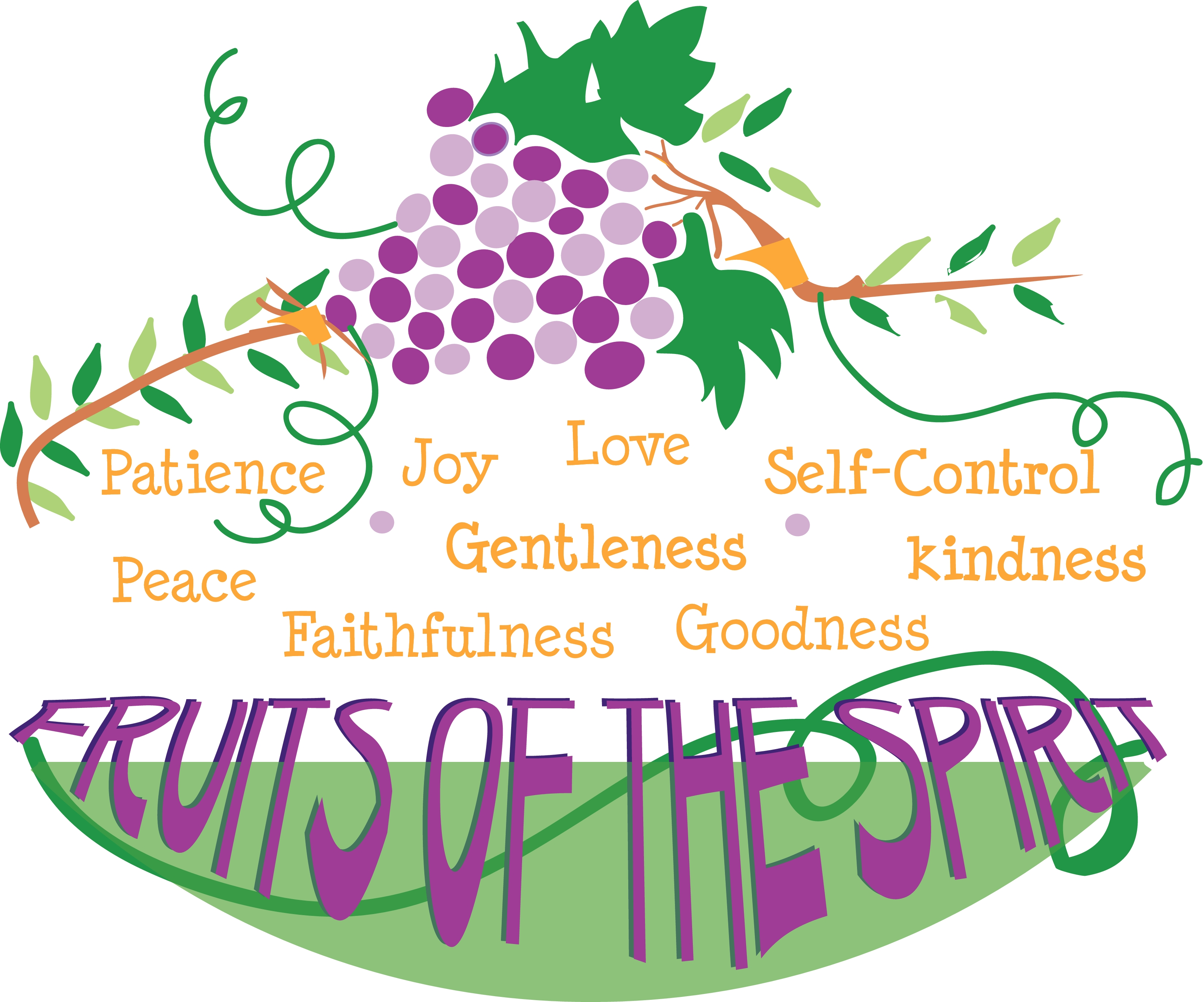 Nine Fruits of the Holy Spirit Clip Art.