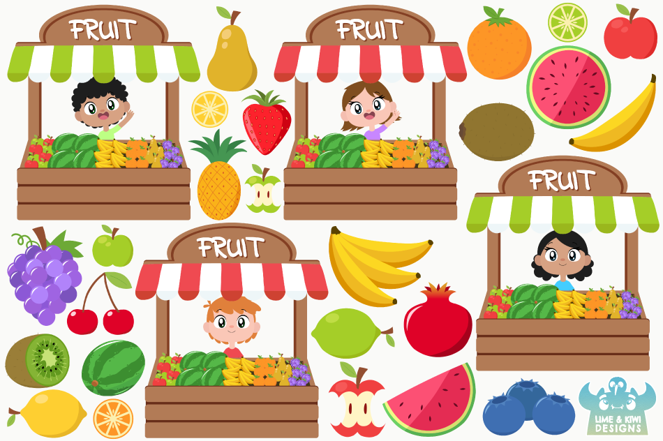 Fruit Stall Clipart, Instant Download Vector Art By Lime and.