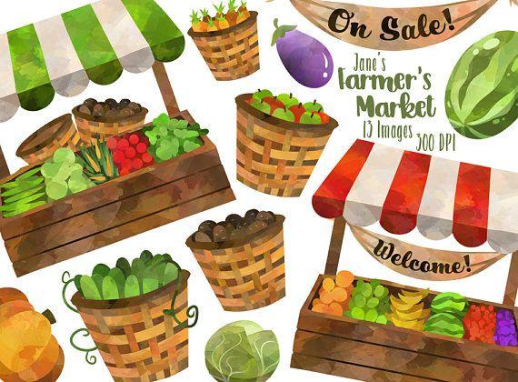 Watercolor Farmer\'s Market Clipart.
