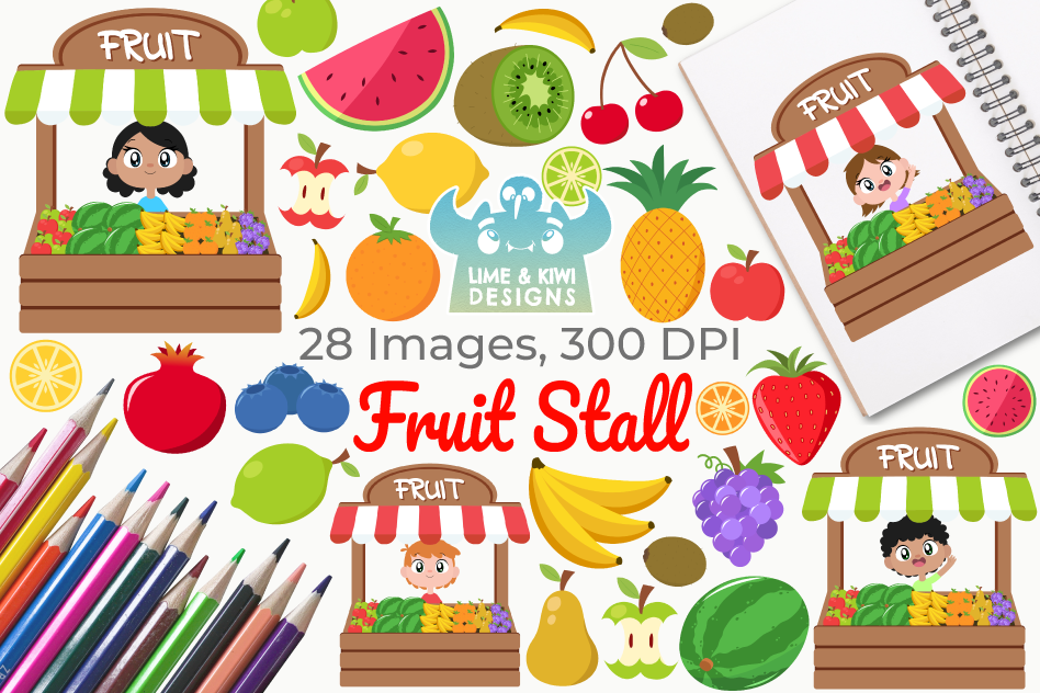 Fruit Stall Clipart, Instant Download Vector Art.