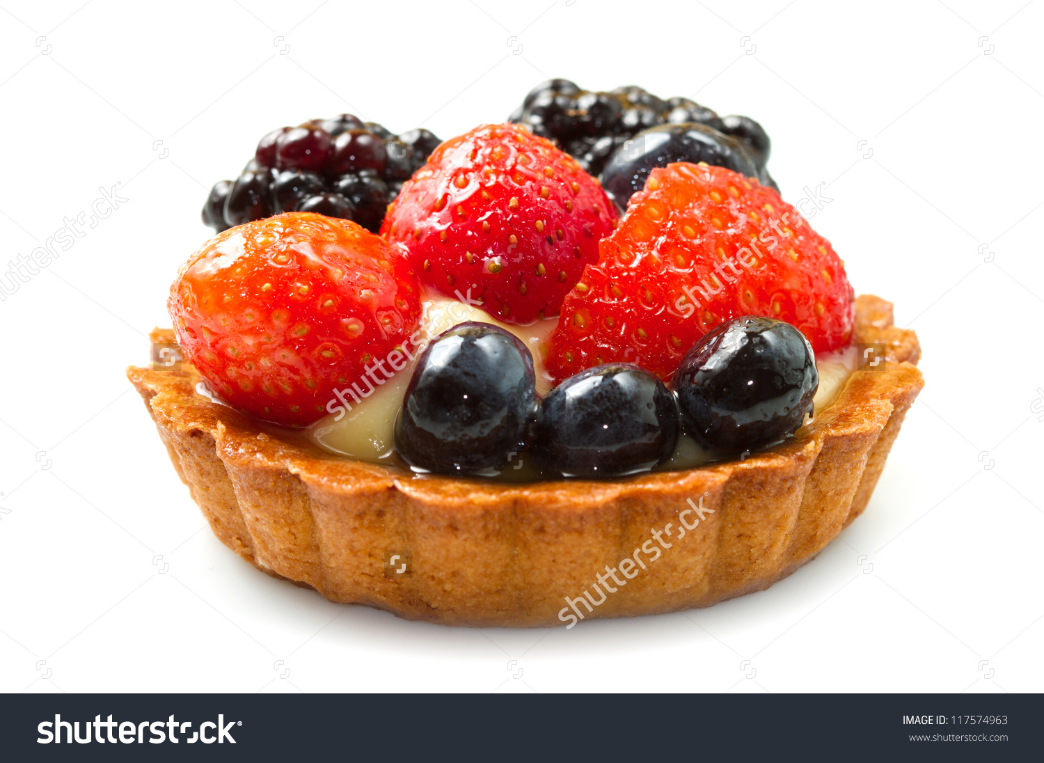 Fresh Fruit Tart On White Background Stock Photo 117574963.