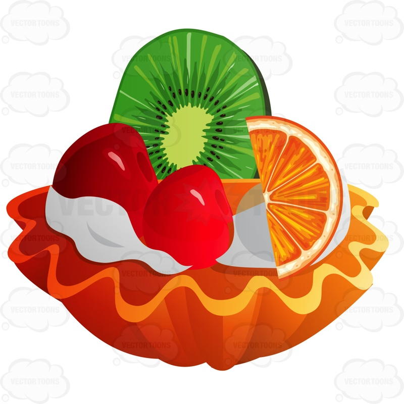 Mini Fruit Tart With Orange Kiwi And Cherries Cartoon Clipart.