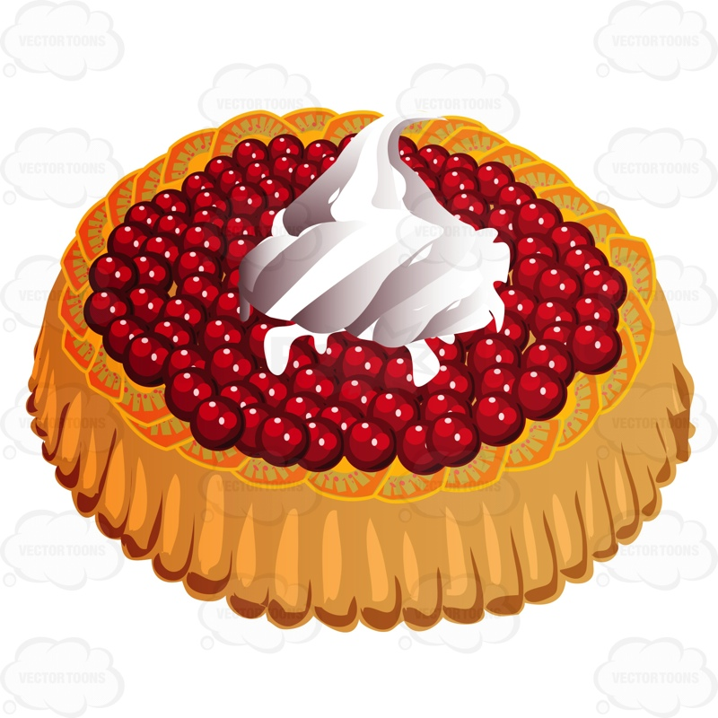 Fruit Tart With Cherries On Top And Whipped Cream Cartoon Clipart.