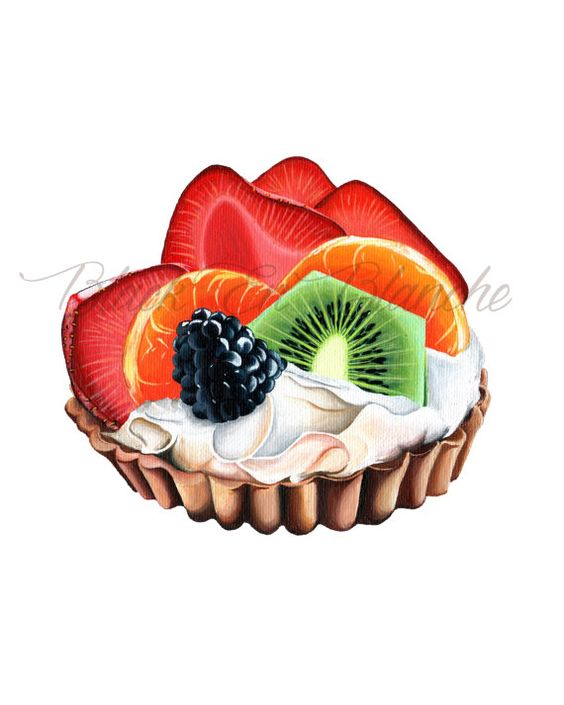 Fruit Tart Art Print / Berry Tart / Bakery Art / Fruit Pie / Fruit.