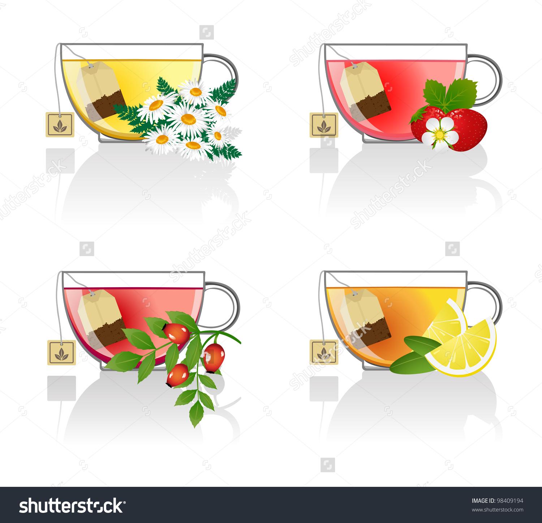 Flower Fruit Tea Stock Vector 98409194.