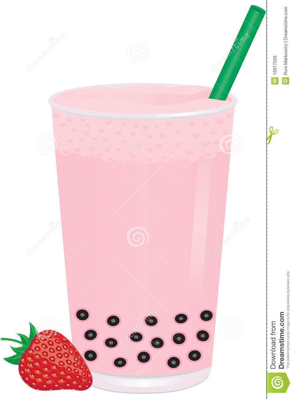 Strawberry Bubble Milk Tea With Fruit Royalty Free Stock Image.