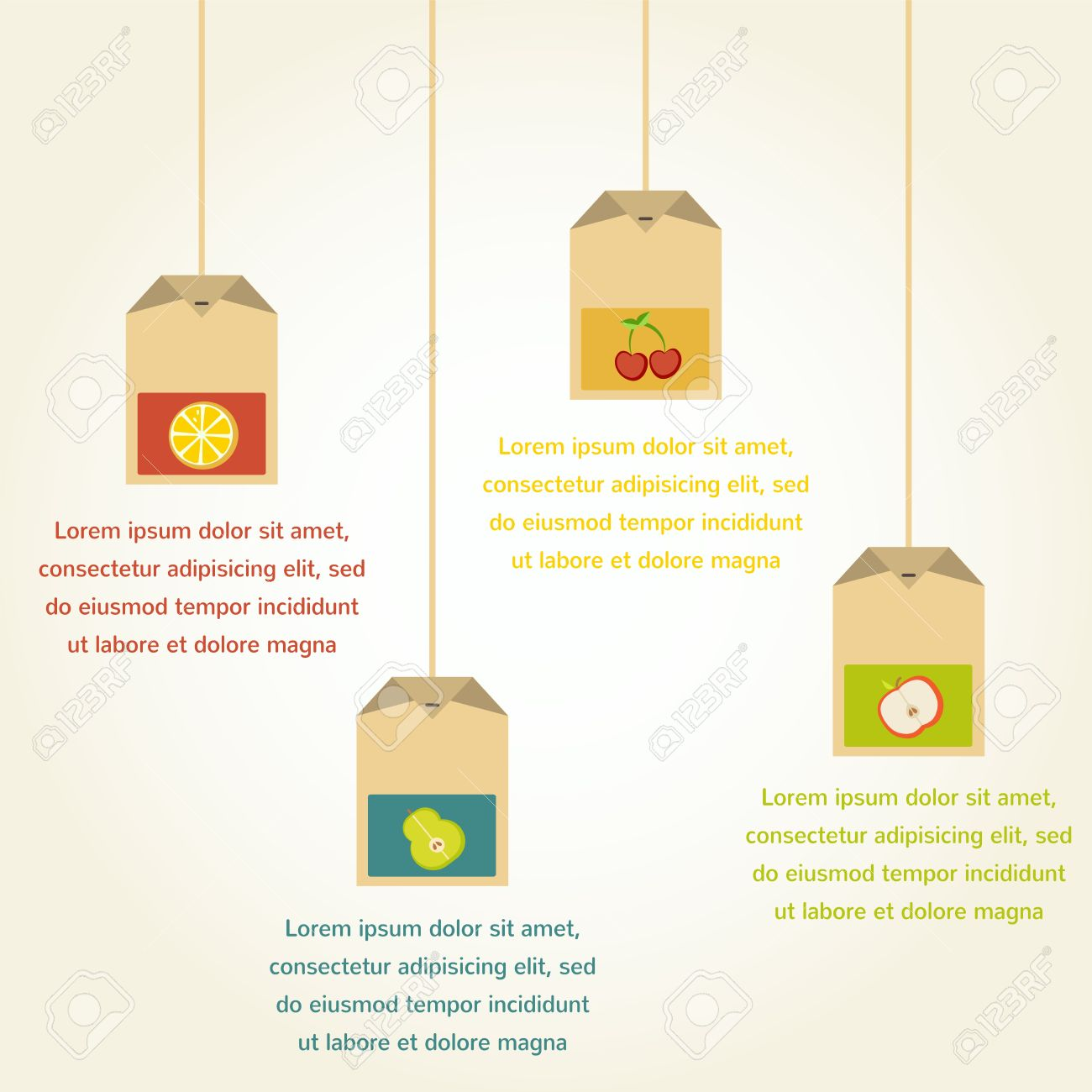 Tea Bags With Fruit Flavor , Infographics Royalty Free Cliparts.