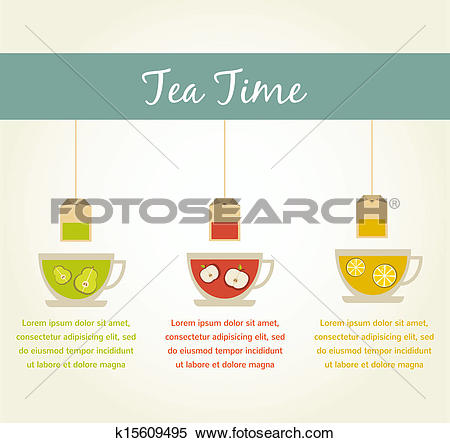 Clipart of tea time. fruit tea infographics k15609495.