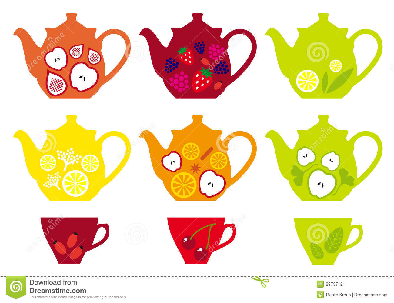 Tea Pots And Cups With Fruits, Vector Stock Image.