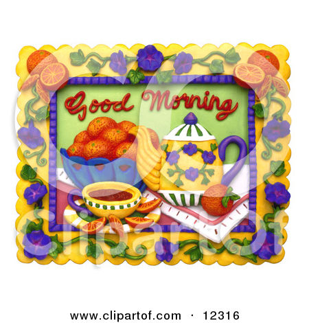 Clay Sculpture Clipart Good Morning Tea And Fruit Scene.