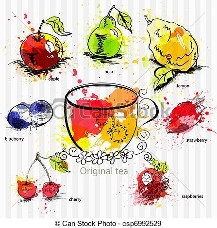 EPS Vectors of Fruit tea.
