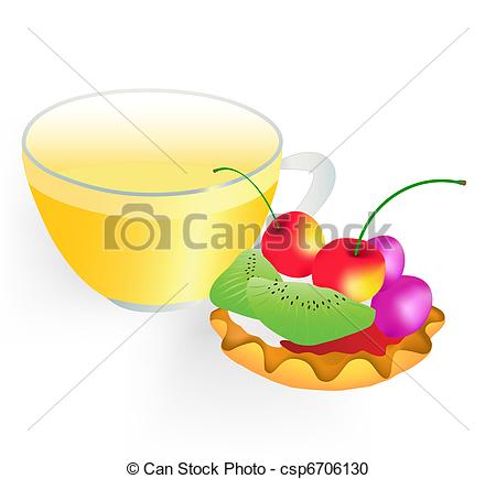 Vector Clipart of Fruit cake and cup of green tea on a white.