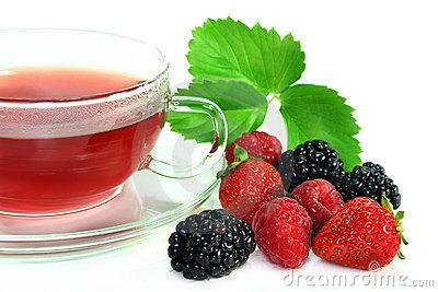 Red Fruit Tea Stock Photo.