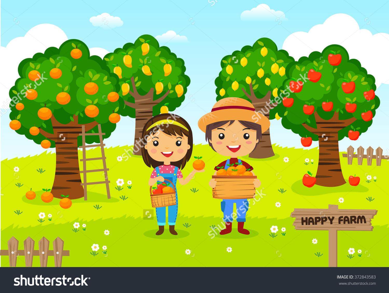 Farmers Working Farm Gardener Garden Fruit Stock Vector 372843583.