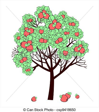 Vector Clipart of Vector drawing of apple tree with fruits.