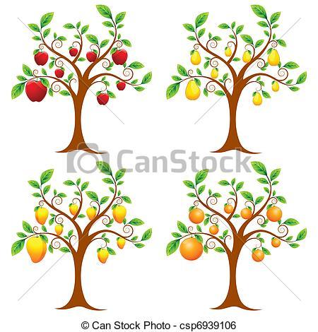 Clip Art Vector of Fruit Tree.