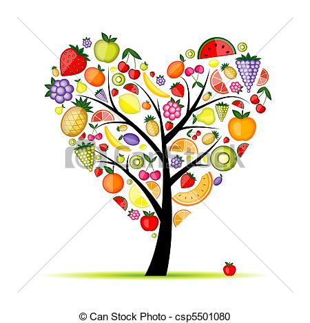 Vector Clipart of Energy fruit tree heart shape for your design.