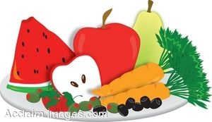 Clipart fruits and veggies.