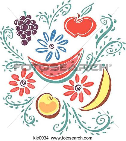 Drawings of Fruit and flowers kle0034.