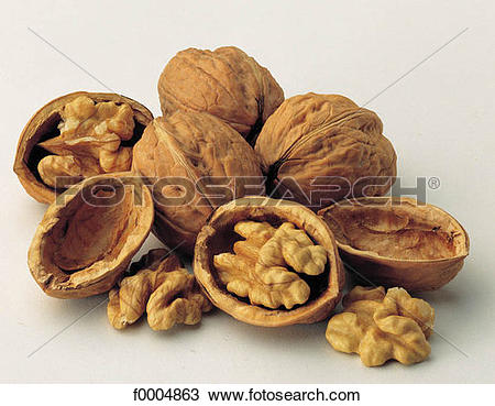Stock Photo of inside, dried fruit, shell, walnut, fruit, aliment.