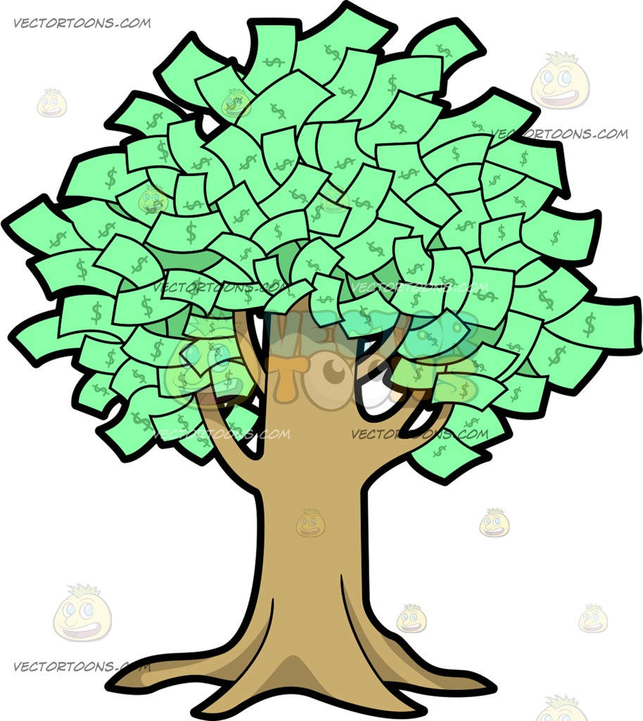 A Fruitful Money Tree Cartoon Clipart.