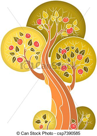 Clipart Vector of Fruitful apple tree, isolated on white.