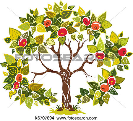 Clipart of Fruitful apple tree k6707894.