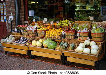 Stock Image of outdoor fruit market in boston.