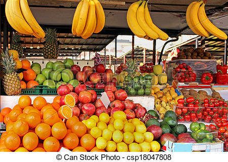 Stock Photography of Fruit market stall.