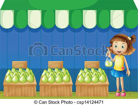 Vectors Illustration of A girl at the fruit market.