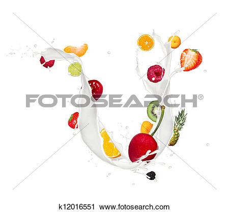 Stock Photography of Fruit mix in milk splash isolated on white.