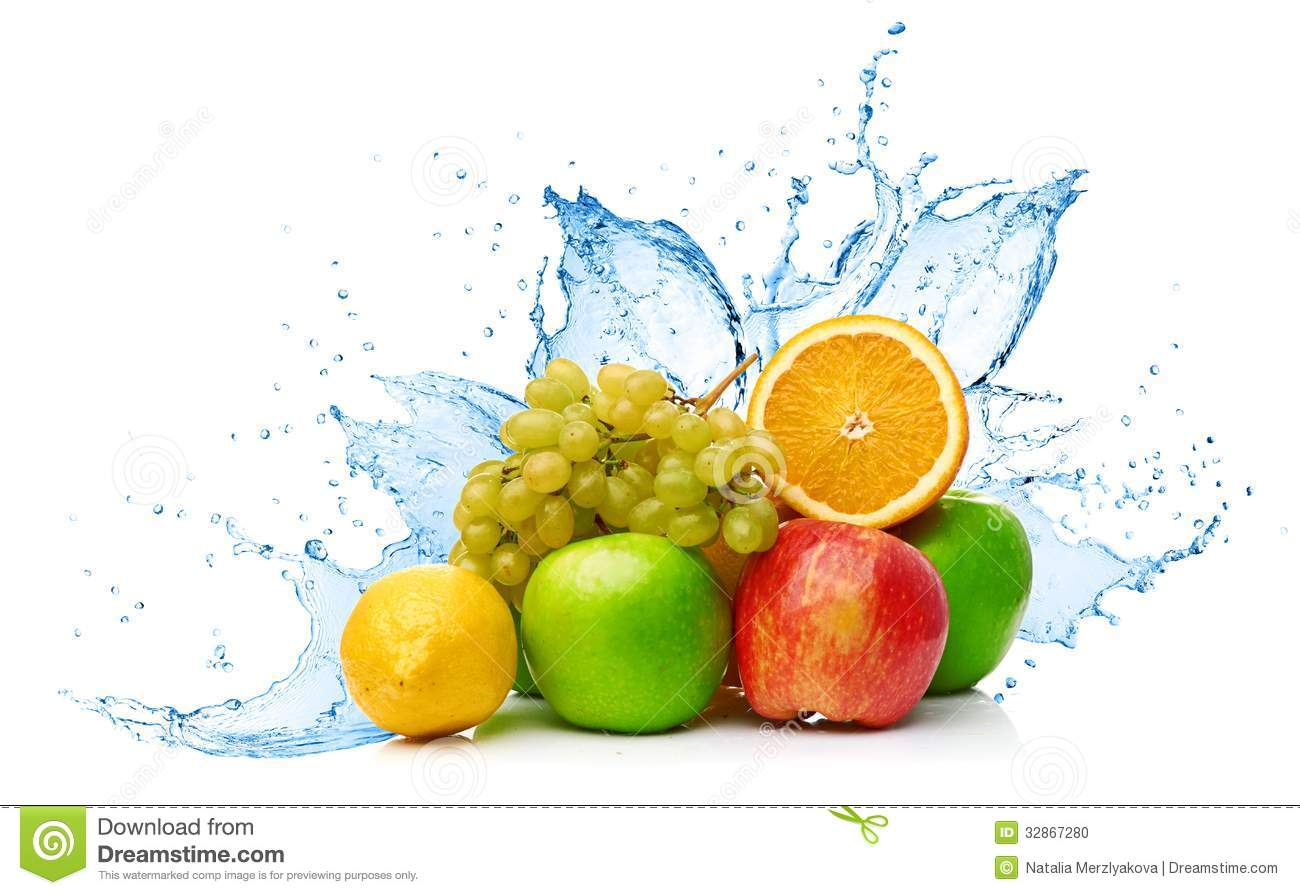 Fruit Mix In Water Splash Stock Photography.