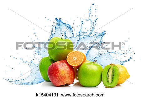 Stock Photography of Fruit mix in water splash k15404191.