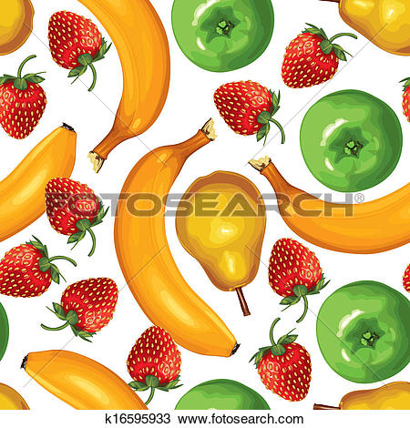 Clipart of Fruit mix seamless pattern k16595933.