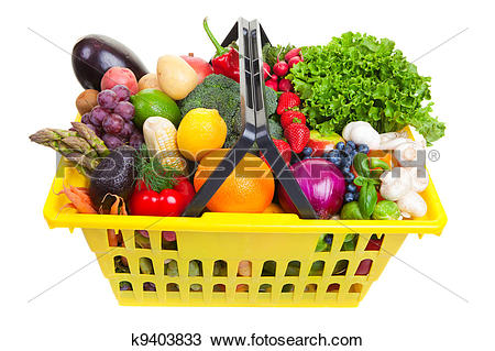 Drawing of Fruit and vegetables basket k9403833.