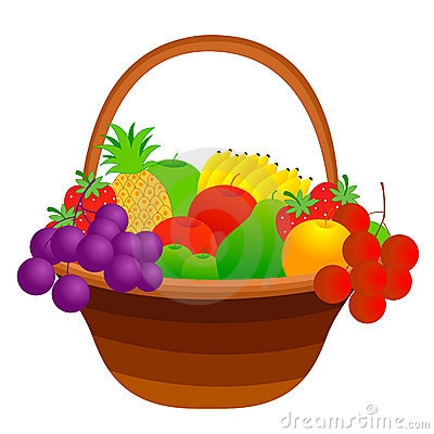 Fruit And Vegetables Basket Clipart.
